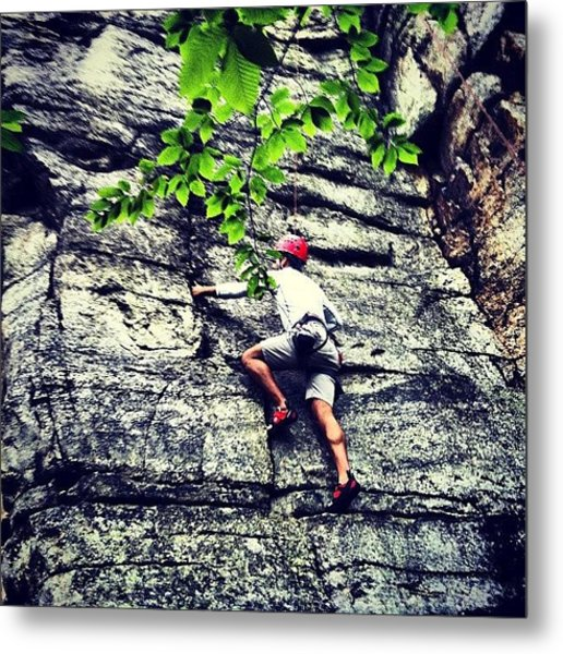 Rock Climbing At Peter's Kill Metal Print