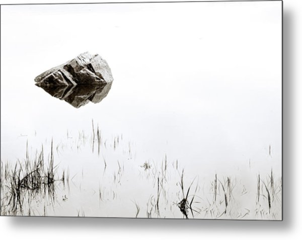 Rock In The Water Metal Print