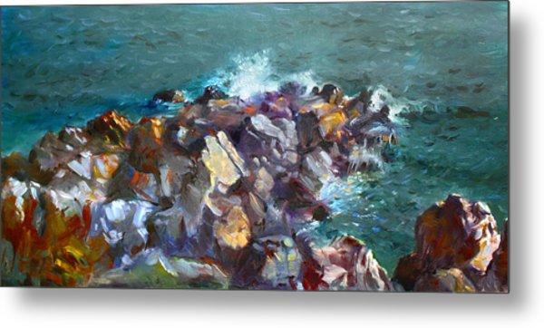 Rocks Against The Ocean  Metal Print
