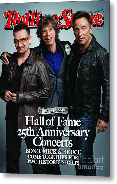 Rolling Stone Cover - Volume #1092 - 11/26/2009 - Bono, Mick Jagger, And Bruce Springsteen Metal Print