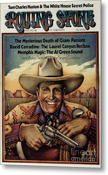 Rolling Stone Cover - Volume #146 - 10/25/1973 - Gene Autry Metal Print by Gary Overacre