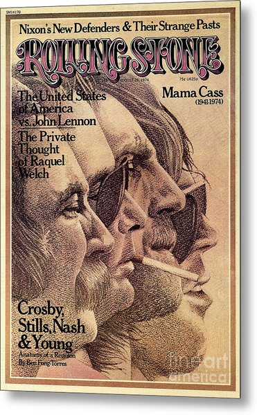 Rolling Stone Cover - Volume #168 - 8/29/1974 - Crosby, Still, Nash And Young Metal Print by Dugard Stermer