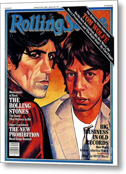Rolling Stone Cover - Volume #324 - 8/21/1980 - Mick Jagger And Keith Richards Metal Print