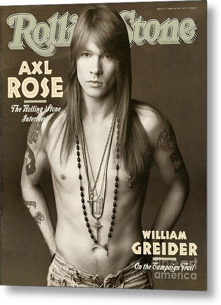 Rolling Stone Cover - Volume #627 - 4/2/1992 - Axl Rose Metal Print