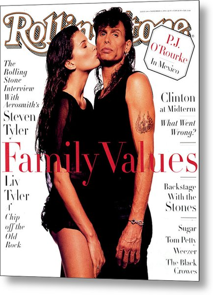 Rolling Stone Cover - Volume #694 - 11/3/1994 - Liv And Steven Tyler Metal Print
