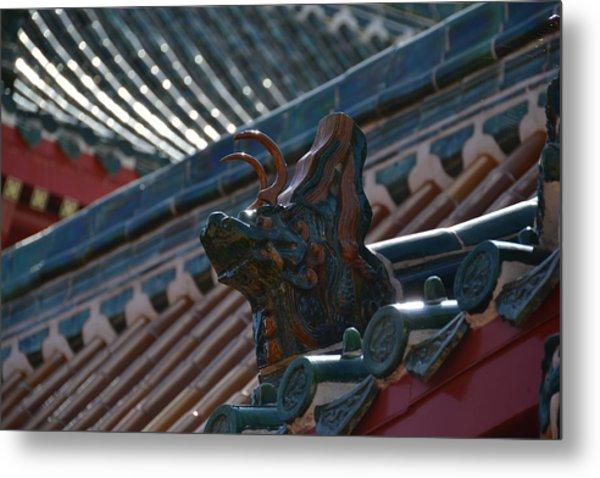 Rooftop Dragon Metal Print