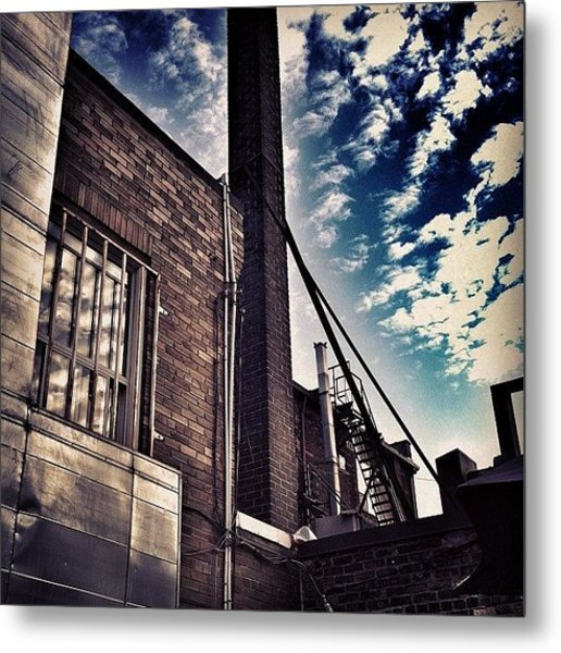 #rooftop #sky #brick #reflection Metal Print