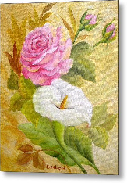 Rose And Calla Lily Metal Print by Francine Henderson