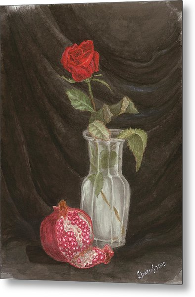 Rose And Pomegranate Metal Print