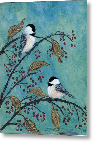 Rose Hip Chickadees Metal Print