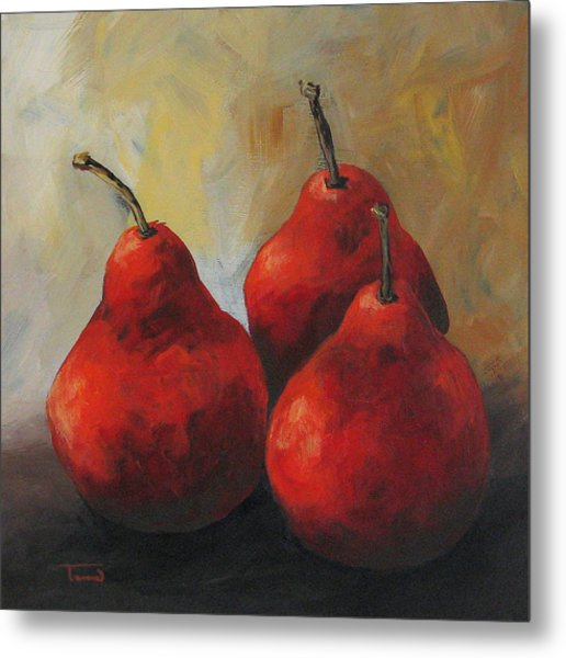 Rose Red Pears Metal Print