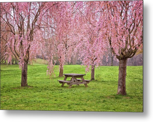 Rose Tree Table Metal Print