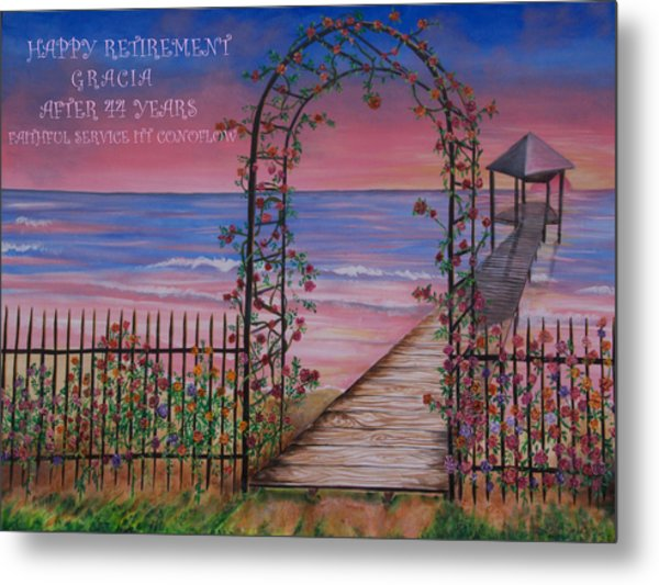 Rose Trellis Retirement Metal Print