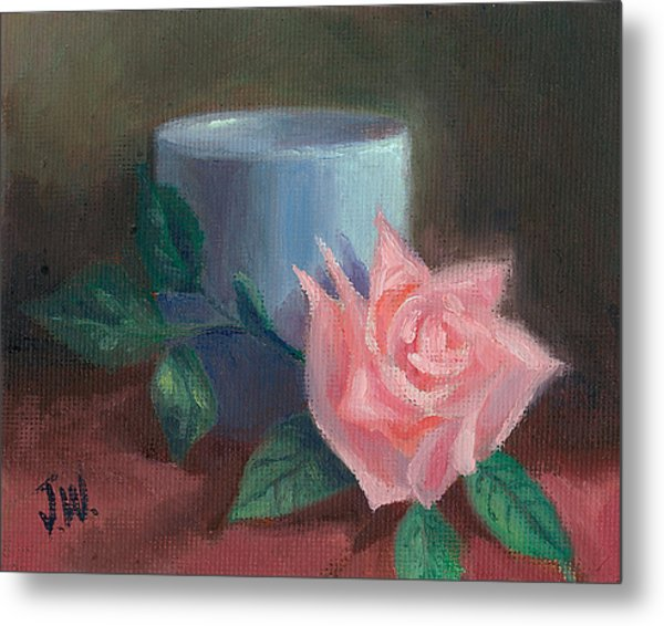 Metal Print featuring the painting Rose With Blue Cup by Joe Winkler