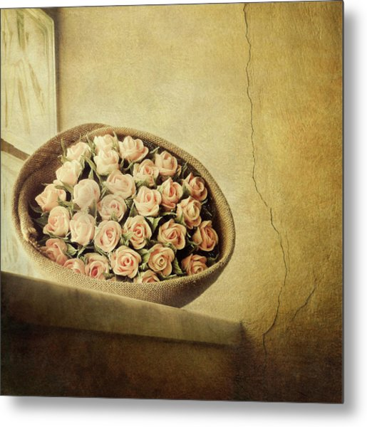 Roses On Window Metal Print by Marco Misuri