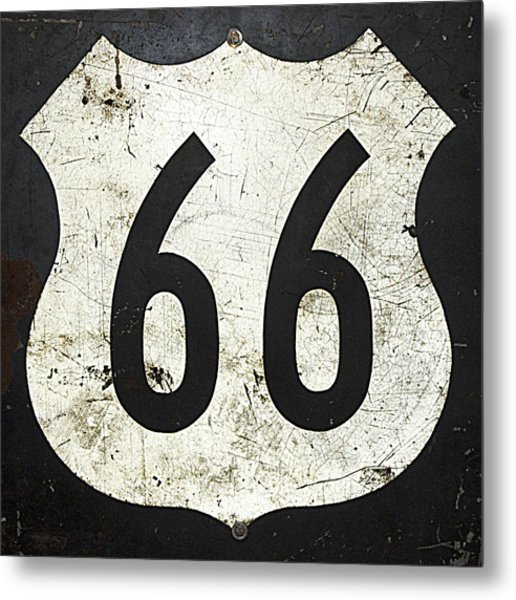 Route 66 Road Sign Metal Print