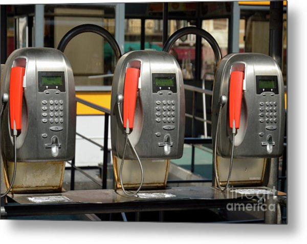 Row Of Pay Phones In Venice Metal Print by Sami Sarkis