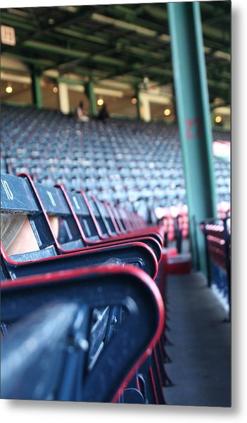 Rows Of Empty Field Box Seats At Fenway Boston Metal Print by Loud Waterfall Photography Chelsea Sullens