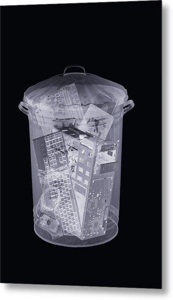 Rubbish Bin, Simulated X-ray Metal Print by Mark Sykes