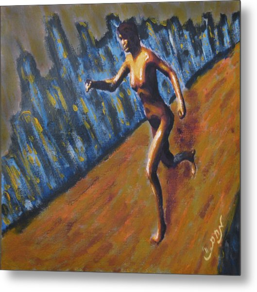 Running Nude Female Goddess On The Muddy Skyline Of Chicagos Lakefront Metal Print