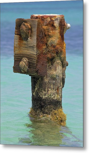 Rusted Dock Pier Of The Caribbean Iv Metal Print