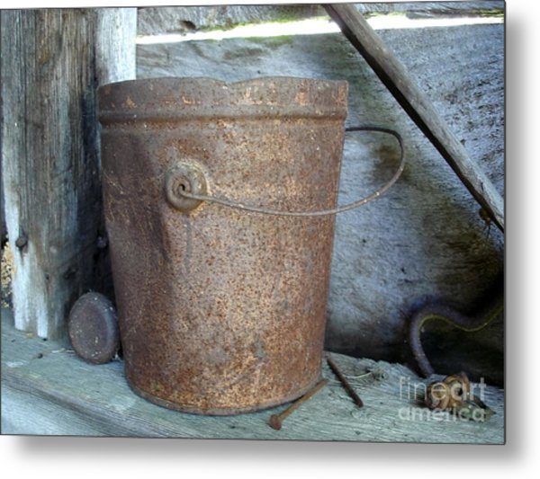 Rusty Bucket Metal Print