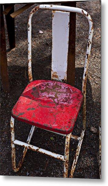 Rusty Metal Chair Metal Print