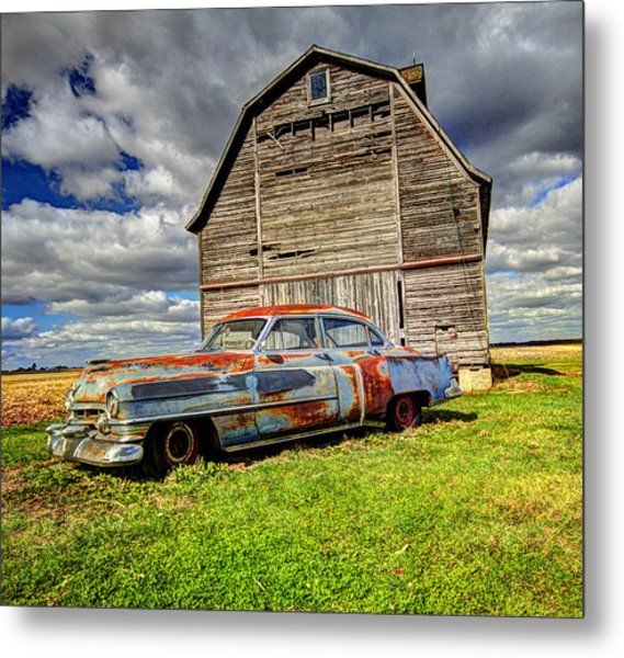 Rusty Old Cadillac Metal Print