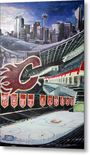 Saddledome- Calgary Flames Metal Print by Chris Ripley