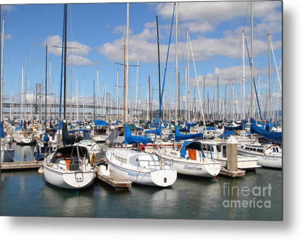 Sail Boats At San Francisco China Basin Pier 42 With The Bay Bridge In The Background . 7d7688 Metal Print by Wingsdomain Art and Photography