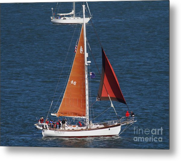 Sailboat In The San Francisco Bay . 7d7881 Metal Print by Wingsdomain Art and Photography
