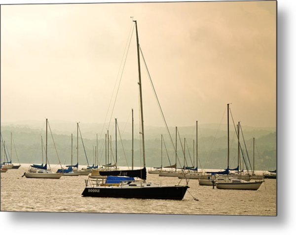 Sailboats Moored In The Harbor Metal Print