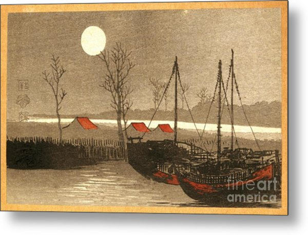 Sailboats Moored Under The Full Moon Metal Print