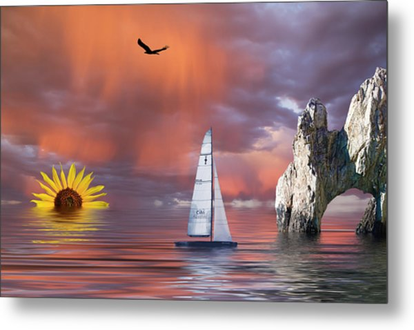 Metal Print featuring the mixed media Sailing At Sunset by Shane Bechler