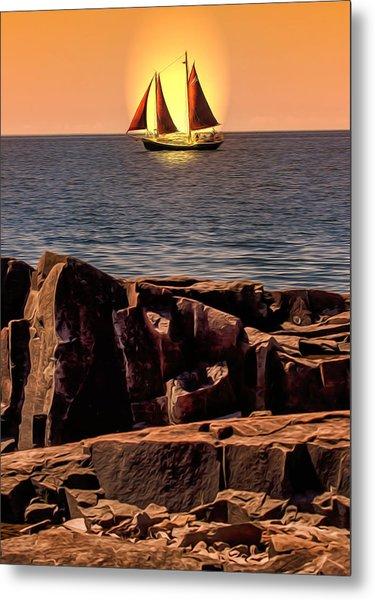 Sailing In Grand Marais Metal Print by Bill Tiepelman