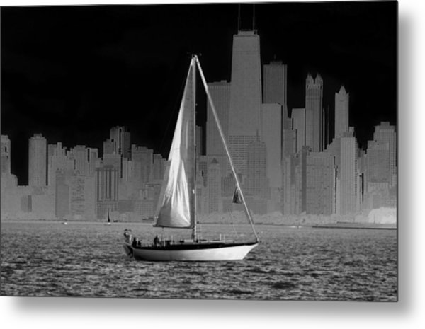 Sailing In Lake Michigan Metal Print