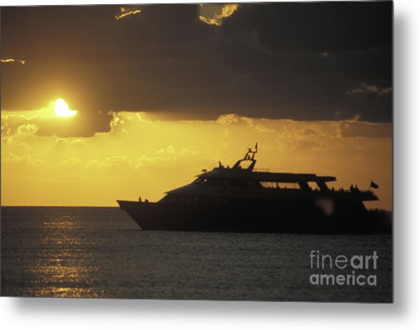 Sailing Into The Sun Cozumel Mexico Metal Print by John  Mitchell