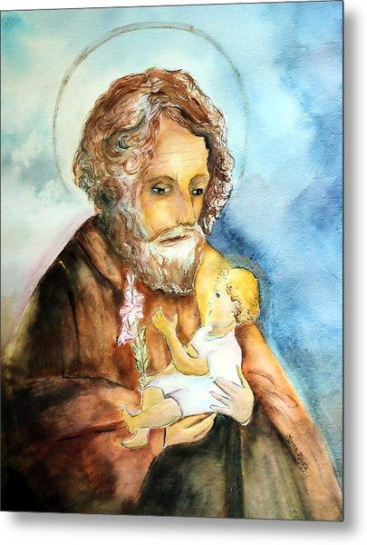 Saint Joseph And Child Metal Print by Myrna Migala