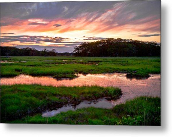 Salt Marsh Sunset Metal Print