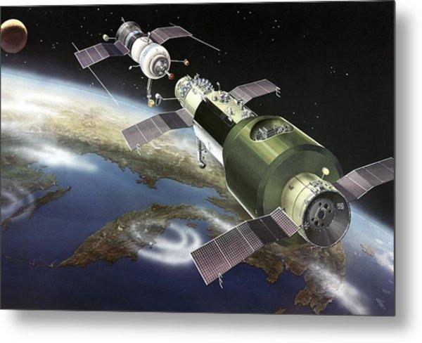 Salyut 1 Space Station, Artwork Metal Print by Ria Novosti