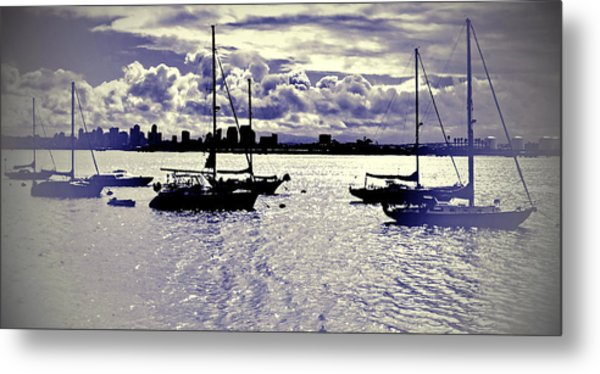 Metal Print featuring the digital art San Diego View From Shelter Island IIi by Visual Artist Frank Bonilla