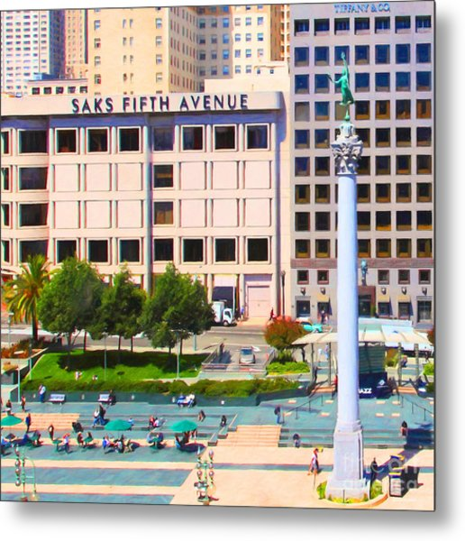 San Francisco - Union Square - 5d17938 - Square - Painterly Metal Print by Wingsdomain Art and Photography