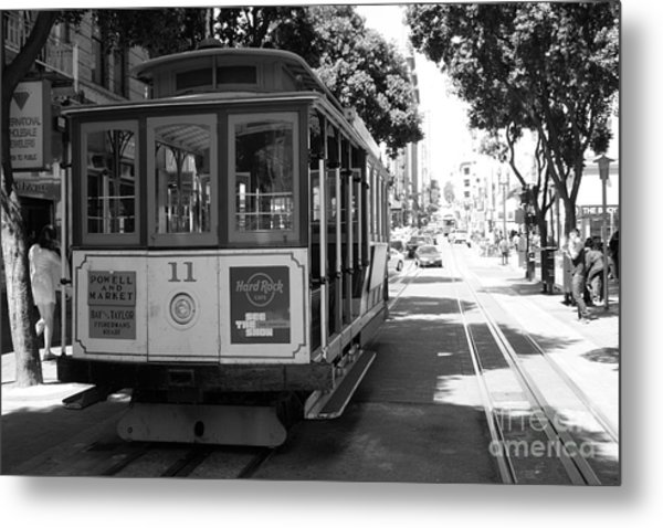 San Francisco Cable Cars At The Powell Street Cable Car Turnaround - 5d17962 - Black And White Metal Print by Wingsdomain Art and Photography
