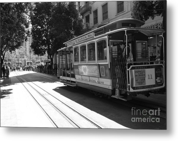 San Francisco Cable Cars At The Powell Street Cable Car Turnaround - 5d17963 - Black And White Metal Print by Wingsdomain Art and Photography