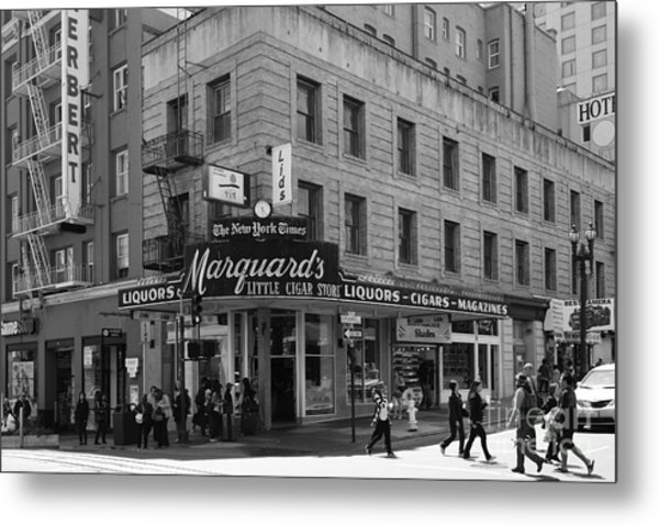 San Francisco Marquards Little Cigar Store Powell Street - 5d17950 - Black And White Metal Print by Wingsdomain Art and Photography