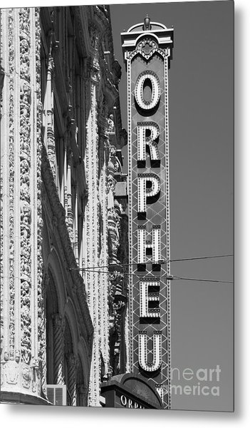 San Francisco Orpheum Theatre - 5d17996 - Black And White Metal Print