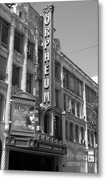 San Francisco Orpheum Theatre - 5d18007 - Black And White Metal Print by Wingsdomain Art and Photography