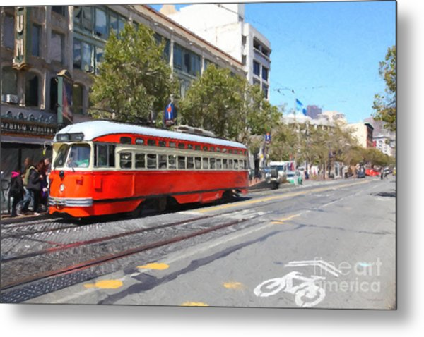 San Francisco Streetcar At The Orpheum Theatre - 5d17998 - Painterly Metal Print by Wingsdomain Art and Photography
