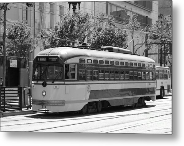 San Francisco Vintage Streetcar On Market Street - 5d17972 - Black And White Metal Print by Wingsdomain Art and Photography