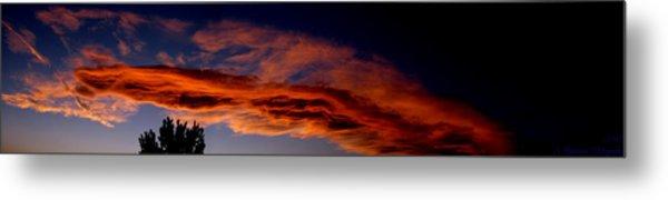 Sandia Heights Fiery Sunset Panoramic Metal Print by Aaron Burrows